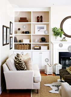Want to paint my bookcases and mantle white like this.