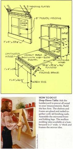 From mirror on the wall to table and bookshelves. Space saving idea