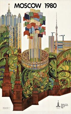 1980 Moscow Olympics vintage poster