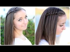 Pancaked 4-Strand Waterfall Braid...easier then a regular waterfall braid!  You will love it! #waterfallbraid #hairstyles #braid #CGH4strandwaterfall
