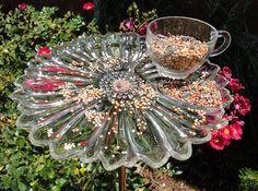 bird feeder - garden art (antique snack set)
