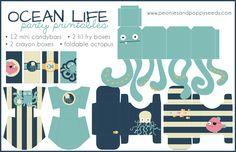 Peonie e semi di papavero: stampabili Partito Ocean: Treats e Octopus
