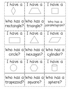 M.2.G.1............Freebie!!!  I Have... Who Has with 2D and 3D shapes.