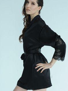 Ann Vogue Margaret Black Silk Robe