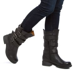 boots with buckles, leather boots, black boots, winter boots, shoe