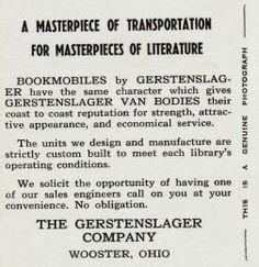Gerstenslager Bookmobile ad on a postcard, ca. 1948.