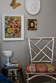 color, silver, painted chairs, bedroom master, master bedrooms, old chairs, design, powder rooms, eclect bedroom