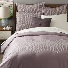 NEW! The lined pattern on our Cord Embroidered Duvet Cover + Shams blends embroidery with stitched-on rope cord, for a look that's both cool and crisp.
