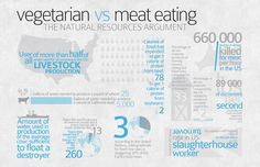 Vegetarian vs. Meat Eating (Infographic). The natural resources argument.  from behance.net
