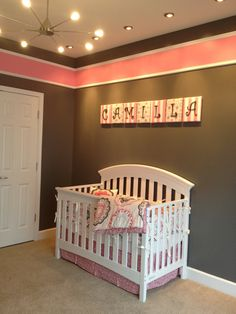 pink and gray walls, dwell studio, color, girl nurseries, grey wall, grey and pink wall stripes, light pink baby room, blues, letter wall