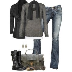 Women's outfits. Women's fashion. Women's clothes. Fall. Winter. Black. Gray. Grey. Scarf. Boots.