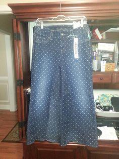 Custom modest polka dot jean skirt