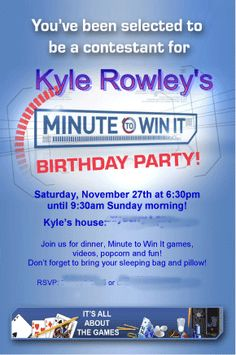 """Great 10 Year Old Boy's Birthday Idea: """"Minute to Win It"""" Party! - MomOf6 — MomOf6"""