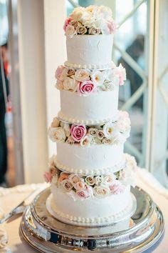 Four-tier white wedding cake with roses | Natasja Kremers Photography | see more on: http://burnettsboards.com/2014/09/glamorous-wedding-cutest-flower-girls/