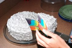 multicolor two layer cake. Maybe with someone's favorite colors, or to match the season