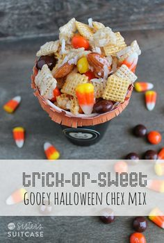 Delicious Halloween version of Gooey Chex Mix with candy corn and pumpkin M&Ms! www.sisterssuitcaseblog.com #halloween #treat #recipe