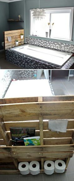 Re-Purposed Bathroom Storage Solutions! • Ideas & Tutorials! • Attach a wood pallet to the end of the tub, and use to hang towels, store toilet paper and add a warm wood element to the bath!