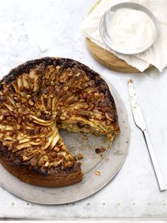 Flourless apple, almond, raisin and ginger cake.