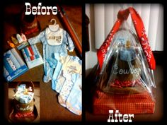 Cowboy Gift Basket for Baby Shower! Cute for your new lil cowboy to come!