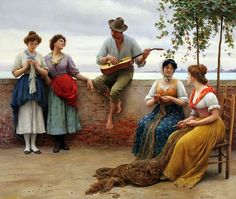 The Serenade by Eugene de Blaas 1910, art, eugen de, deblaa, paint, de blaa, serenad, oil, canvases