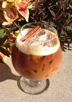Smash that Pumpkin Cocktail from @Mandy Dewey Seasons Hotel St. Louis. Ingredients: 1.5 oz Crown Valley Pumpkin Cheesecake Vodka, 2 oz RumChata Cream Liqueur, 3 oz chilled espresso, light brown sugar, cinnamon stick, ground nutmeg. Method: 1. Coat rim of a brandy snifter w/ brown sugar. 2. Fill  with ice. 3. Add vodka & espresso. 4. Add ice & RumChata to a cocktail shaker. Shake vigorously until light & frothy. 5. Gently strain RumChata into snifter creating a layered effect. 6. G