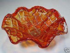 Decorative Art Glass Amberina Bowl Candy Dish Ruffled Edge Murano | eBay