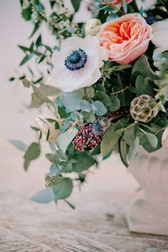 Peony and anemone centerpiece | Irina Klimova Photography | see more on: http://burnettsboards.com/2014/09/beauty-flower-exquisite-bridal-editorial/