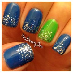 Blue and Neon Green Seahawks Nails. Gelish - Ooba Ooba Blue & Amazon Flirt. Glitter gradient - Am I making you gelish? #GoHawks #GoGreen