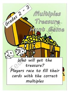 FREE Math: Multiples Treasure Hunt Game Grade 2, 3 from Math-Games on TeachersNotebook.com -  (4 pages)  - Get this Fun game for your students to practice their multiples.