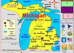 All About Michigan from Babar's Store on TeachersNotebook.com -  (32 pages)  - Introduction to the state of Michigan Smart board file