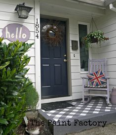 Cute painted gingham porch floor from The Paint Factory.