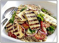 Grilled halloumi and quinoa salad. For speed I just throw in chopped ...
