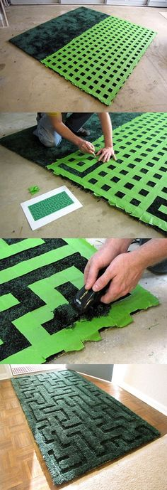 Maze carpet, MakeProjects on a DIY work, bought a plain rug, designed maze, playing with tape grid, cutting off excess tape according to the ...