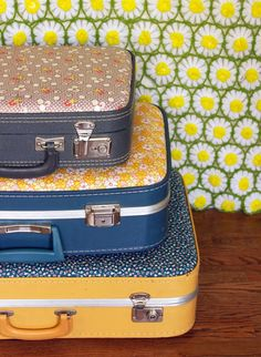 Goodwill Tips: 8 DIY Vintage Suitcase Projects  store craft supplies in old suitcases