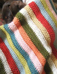 simple stripe crochet blanket