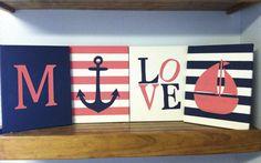 Nautical nursery wall decor paintings, nautical love anchor sailboat initial or name, baby girl/boy nautical decor