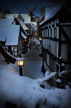 Snow lined street in the town of Aarhus, Denmark.