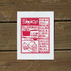 Flapjacks Silkscreen Print - Red by Lori Danelle