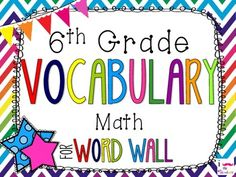 6th Grade Math Word Wall Vocabulary Cards **Rainbow Chevron**