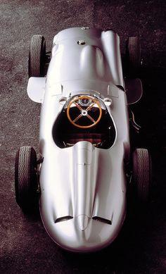 "1930's ""Silver Arrow"" Mercedes-Benz racing car."