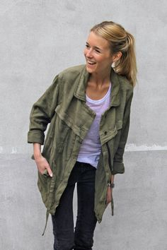 Army jackets are so versatile. Wonder what the shoes were though. Florence from Brussels, featured in Zara's People! Series