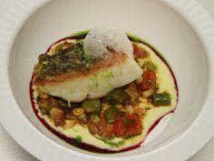 Richard Blais, Fabio Viviani, and Marcel Vigneron's Sea Bass, Succatash, Corn Puree, Cherry Tomato Confit, Concord Gastrique & Jamon Air