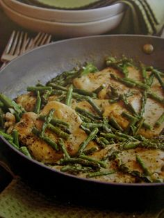 Chicken and Asparagus with Pesto Sauce.