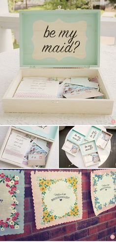 """Paint the lid dusty pink and darker pink lettering. Inside: a letter on cardstock folded in thirds (laterally) and cut with scallop edging scissors explaining why I want her to be my bridesmaid + cards that explain the details of the wedding day.   -   Unique way to ask, Will you be my Bridesmaid""""."""