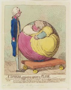 'A sphere, projecting against a plane' (William Pitt; Albinia, Countess of Buckinghamshire) by James Gillray, published by Hannah Humphrey hand-coloured etching, published 3 January 1792
