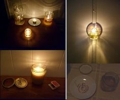 project, craft, oil lamps, homemade candles, papers, light