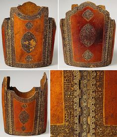 Antique Persian char-aina (chahar-aina,  chahar a'ineh). Literally the four mirrors. Four plates worn over a zirah (shirt of mail) in Persia, India and Central Asia. The armor plates can be rectangular or round, and the two plates worn on the breast and back are considerably larger than those worn at the sides which had recesses for the arms. During the 16th century, chahar aina cuirasses were introduced in Iran. The Metropolitan Museum of Art, New York.