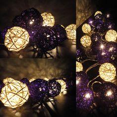 20 Mixed Purple Tone Handmade Rattan Balls Fairy String Lights Home Decor. $13.47, via Etsy.