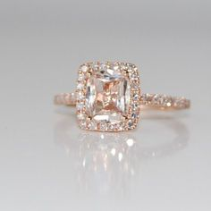 pretty peach champagne sapphire in 14k rose gold.