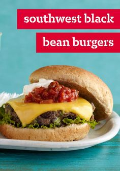 Southwest Black Bean Burgers – Meatless Mondays just became a lot more delicious! Try this vegetarian recipe, ready for the dinner table in about 30 minutes.